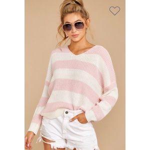 Jackie Striped Knit Sweater - Pink/Ivory